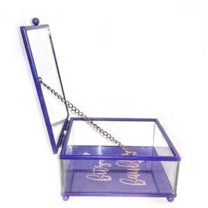 Other - Nice Square Glass Storage Box w/Purple